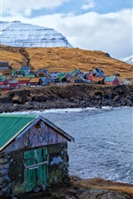 Preview iPhone wallpaper Faroe Islands, Denmark, houses, colors, mountains, sea