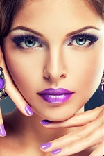 Preview iPhone wallpaper Fashion girl, makeup, purple lips, hands