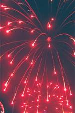 Fogos de artifício, noite, vermelho, festival