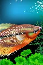 Preview iPhone wallpaper Fish, corals, underwater, vector picture