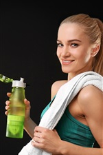 Preview iPhone wallpaper Fitness girl, smile, drink, gray background