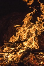 Preview iPhone wallpaper Flame, fire, firewood, night