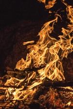 iPhone fondos de pantalla Llama, fuego, leña, noche