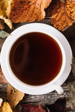 Preview iPhone wallpaper Foliage, cup, coffee, autumn