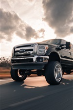 Preview iPhone wallpaper Ford pickup speed, road, clouds
