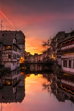 Preview iPhone wallpaper France, Strasbourg, river, houses, lights, evening