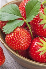 Preview iPhone wallpaper Fresh strawberry, bowl, delicious fruit