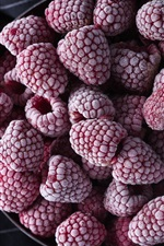 Preview iPhone wallpaper Fruit, frost, raspberry, berries
