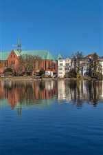 Preview iPhone wallpaper Germany, Lubeck, Schleswig-Holstein, river, houses