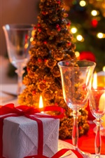 Preview iPhone wallpaper Gift, candles, glass cups, Christmas tree, wine, lights