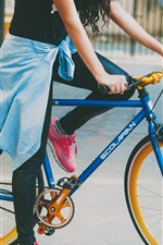 Preview iPhone wallpaper Girl and bike