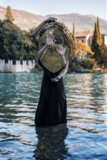 Preview iPhone wallpaper Girl stand in lake water, mirror, hands, creative