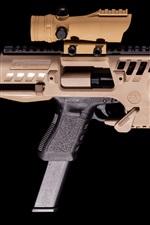 Preview iPhone wallpaper Glock 9mm SBR Pistol, gun, weapon, black background