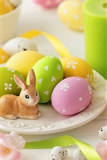 Preview iPhone wallpaper Green candles, colorful eggs, flowers, rabbit, Easter