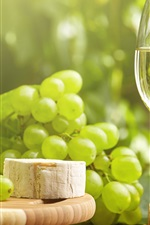 Green grapes, wine, glass cup, cheese