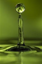 Preview iPhone wallpaper Green, water drop flight, wave