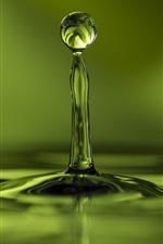 Preview iPhone wallpaper Green, water drop flight, wave