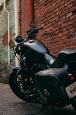 Preview iPhone wallpaper Harley Davidson black motorcycle back view, path