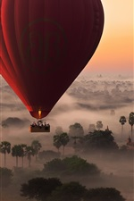 Preview iPhone wallpaper Hot air balloon flight, trees, fog, morning