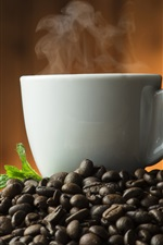 Preview iPhone wallpaper Hot coffee, steam, coffee beans