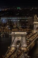 Hungria, Budapeste, Ponte de corrente, noite, cidade, rio, iluminação