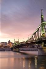 Hungria, Budapeste, noite da cidade, ponte, rio, iluminação