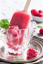 Preview iPhone wallpaper Ice cream, raspberry, dessert, glass cup
