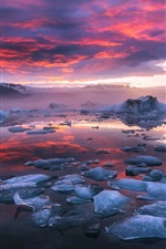 Iceland, fjord, glacier lagoon, ice, clouds, sunset