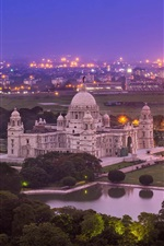 Preview iPhone wallpaper India, Victoria Memorial, Kolkata, West Bengal, night, city, lights