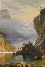 Vorschau des iPhone Hintergrundbilder Indianer Speerfischen, Albert Bierstadt, Kunstmalerei