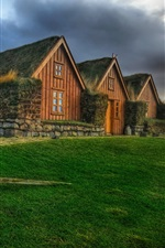 Preview iPhone wallpaper Ireland, Icelandic, houses, grass, HDR style
