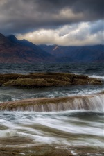 Preview iPhone wallpaper Isle of Skye, Elgol, Scotland, mountains, clouds, sea, water