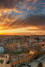 Preview iPhone wallpaper Italy, Cagliari, city, sea, coast, street, sun rays, clouds, dawn