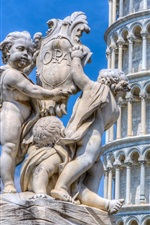 Preview iPhone wallpaper Italy, Pisa tower, statue, blue sky
