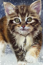 Kitten in the snow, watercolors