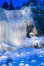 Preview iPhone wallpaper Korouoma, Finland, snow, waterfall, winter, ice