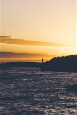 Preview iPhone wallpaper Lighthouse, sea, clouds, dusk, sunset