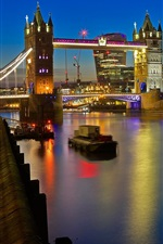 Preview iPhone wallpaper London, Tower bridge, Thames, lights, night, England