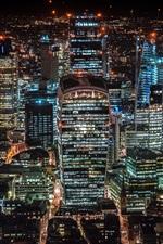 Londres, Reino Unido, arranha-céus, cidade noturna, luzes