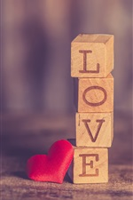 Preview iPhone wallpaper Love and heart, wood cubes