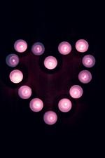 Amor coração, velas, chama, estilo roxo