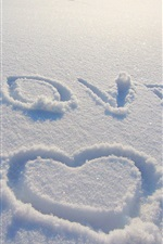 Preview iPhone wallpaper Love heart draw on snow