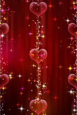 Preview iPhone wallpaper Love hearts decoration, shine
