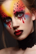 Preview iPhone wallpaper Makeup, girl, blood tears, red lips