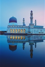미리보기 iPhone 배경 화면 말레이시아, 코타 키나발루시 모스크, 물 반사, 호수, 밤