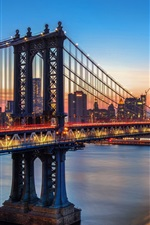 Preview iPhone wallpaper Manhattan bridge, New York, river, city, night, lights, USA