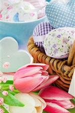 iPhone fondos de pantalla Muchos corazones de amor, cesta, tulipanes, Pascua