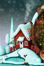 Preview iPhone wallpaper Merry Christmas, trees, balls, teddy, rabbit, house, snow, art picture