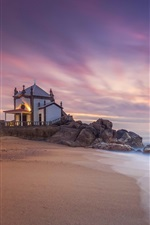 Preview iPhone wallpaper Miramar, Portugal, house, sea, sunset