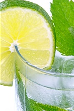 Preview iPhone wallpaper Mojito, lemon slice, drink, mint, ice, lemonade